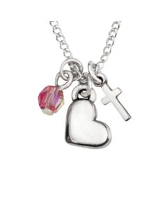 Sterling Silver Heart Charm Necklace with Cross and Bead