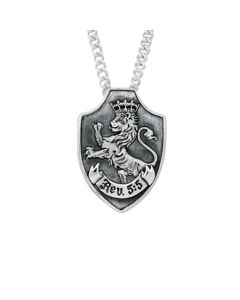Lion of Judah Shield Sterling Silver Necklace