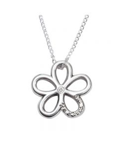Sterling Silver Necklace - He Loves Me Flower
