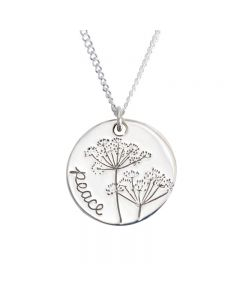 Sterling Silver Peace Necklace - Colossians 3:15