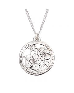 Sterling Silver Psalm 23 Necklace - Flowers