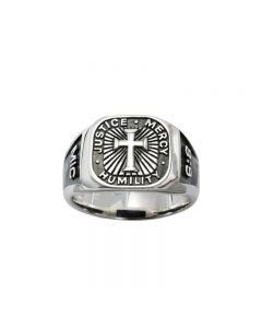 Sterling Silver Men's Cross Christian Ring - Signet / Micah 6:8