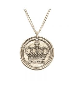14Kt Gold Cross Necklace - Blessed/Crown