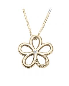 14Kt Gold Necklace - He Loves Me Flower