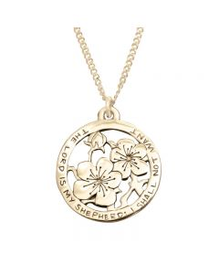 14Kt Gold Psalm 23 Necklace - Flowers