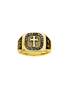 14Kt Gold Men's Cross Ring - Signet/Micah 6:8