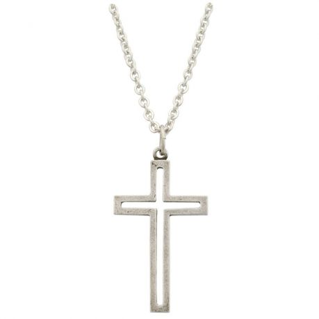 Cross Necklace - Pewter Cut-Out Cross