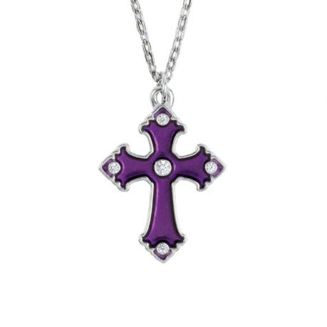 Cross Necklace - Amethyst with Gemstone